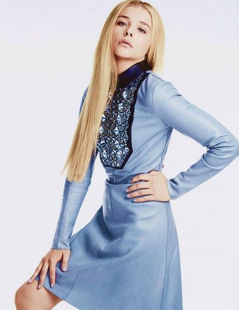 dress leather dress blue dress midi dress rhinestones dress rhinestones chloe grace moretz