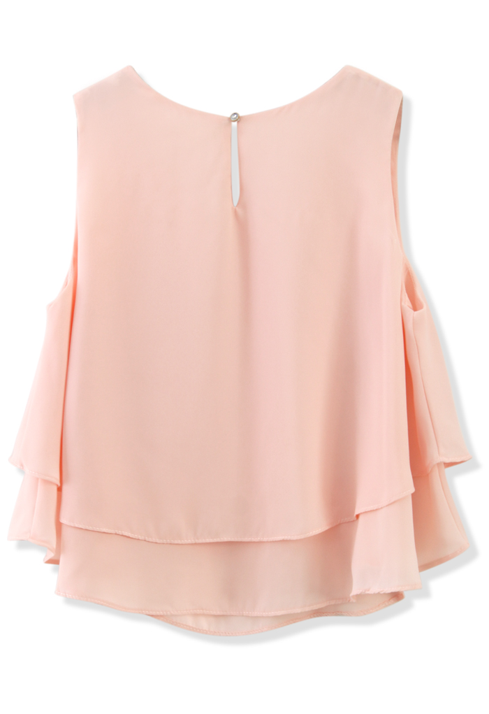 Layered Chiffon Crop Top in Pink - Retro, Indie and Unique Fashion