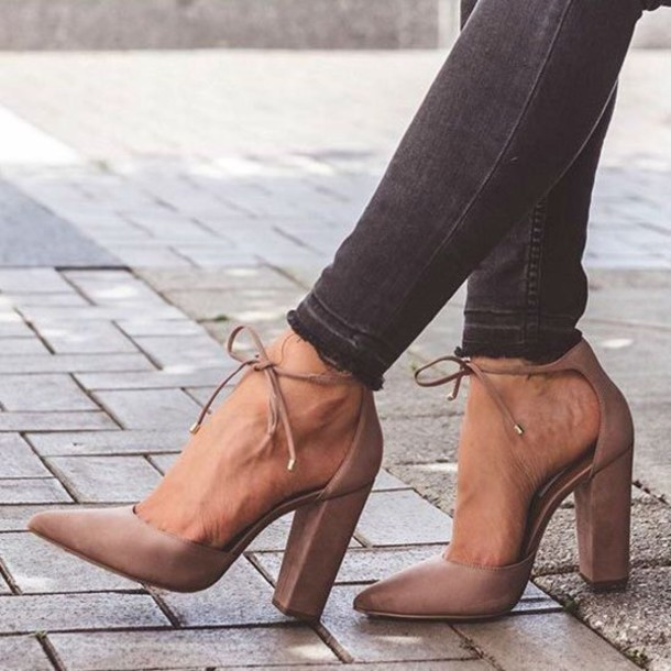 Shoes: nude, nude heels, nude high heels, pumps, pointed toe pumps ...