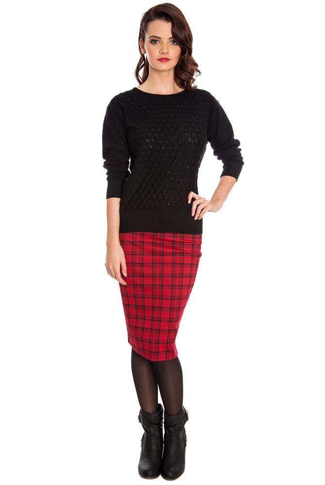 Goddiva Heavy Jersey Tartan Print Pencil Skirt | eBay