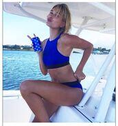 swimwear,bikini,bikini top,bikini bottoms,model off-duty,summer,beach,instagram,blue bikini