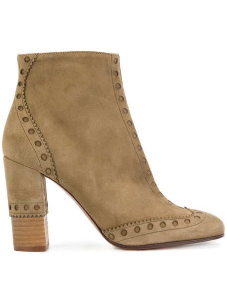 Chloe women ankle boots leather suede brown shoes