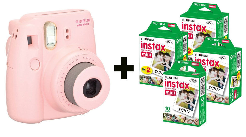 Fujifilm Instax Mini 8 Instant Camera Gift Bundle with 70 Shots - Pink