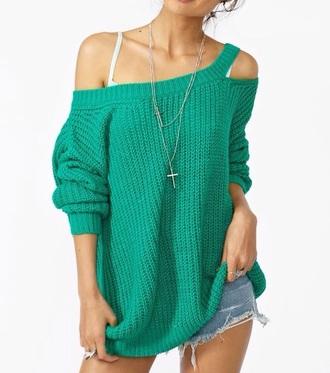 sweater peek-a-boo shirt green off the shoulder sweater off the shoulder