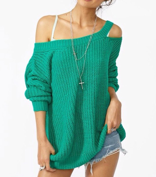 Sweater: peek-a-boo shirt, green, off the shoulder sweater, off ...