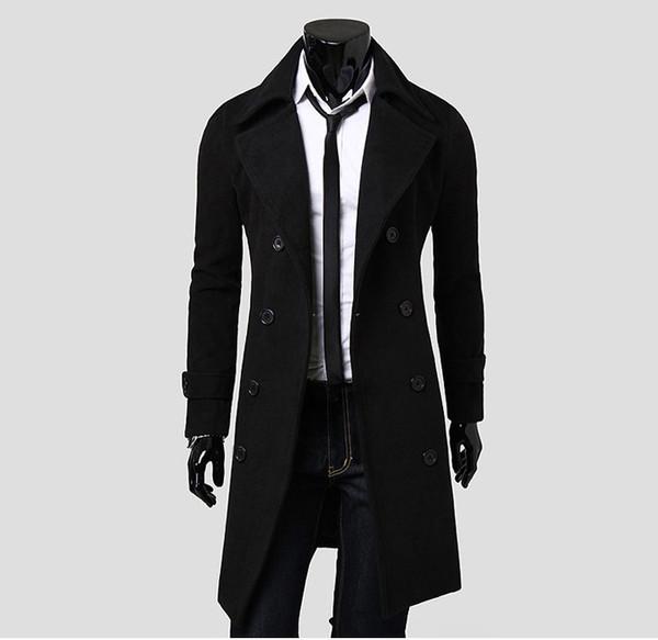turndown collar double-breasted design woolen trench coat