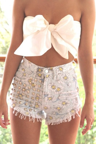 shorts studs high waisted shirt bow shirt short bow top cute summer white tie top top with bow spiked shorts floar shorts skirt