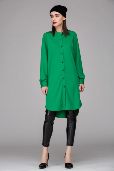 Relaxed shirt dress with asymmetric hem - FrontRowShop