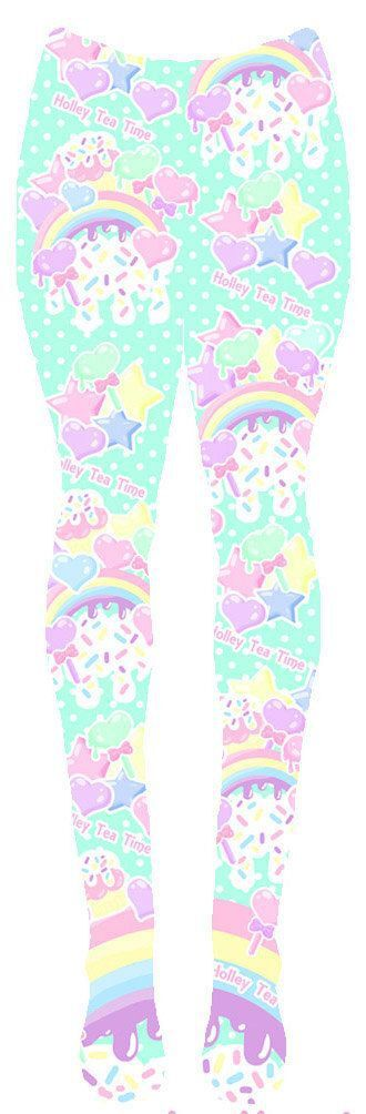 leggings pastel sugar icrecream rainbows fairykei harajuku