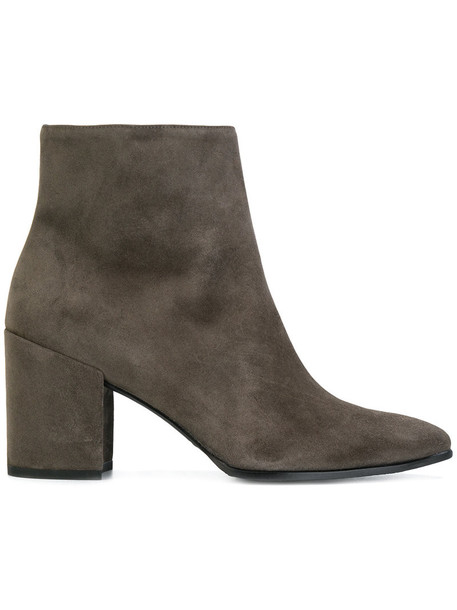 STUART WEITZMAN heel women ankle boots leather suede grey shoes