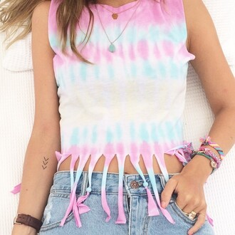 top fringe boho fashion pink blue girl style tie dye festival colorful teenagers