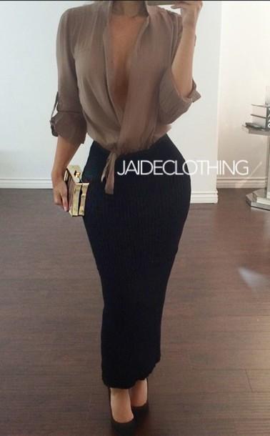 blouse skirt heels classy