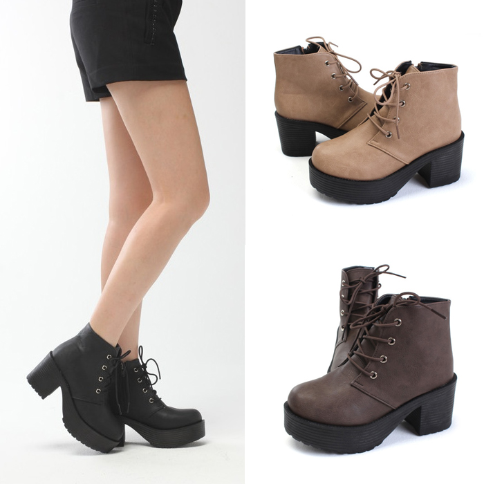 Stylish Round Toe Platform Chunky Heel Lace Up Ankle High Boots ...