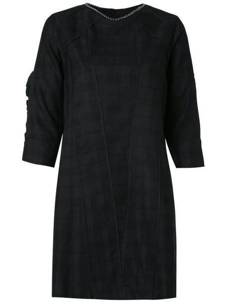 Andrea Bogosian dress shift dress women plaid black wool