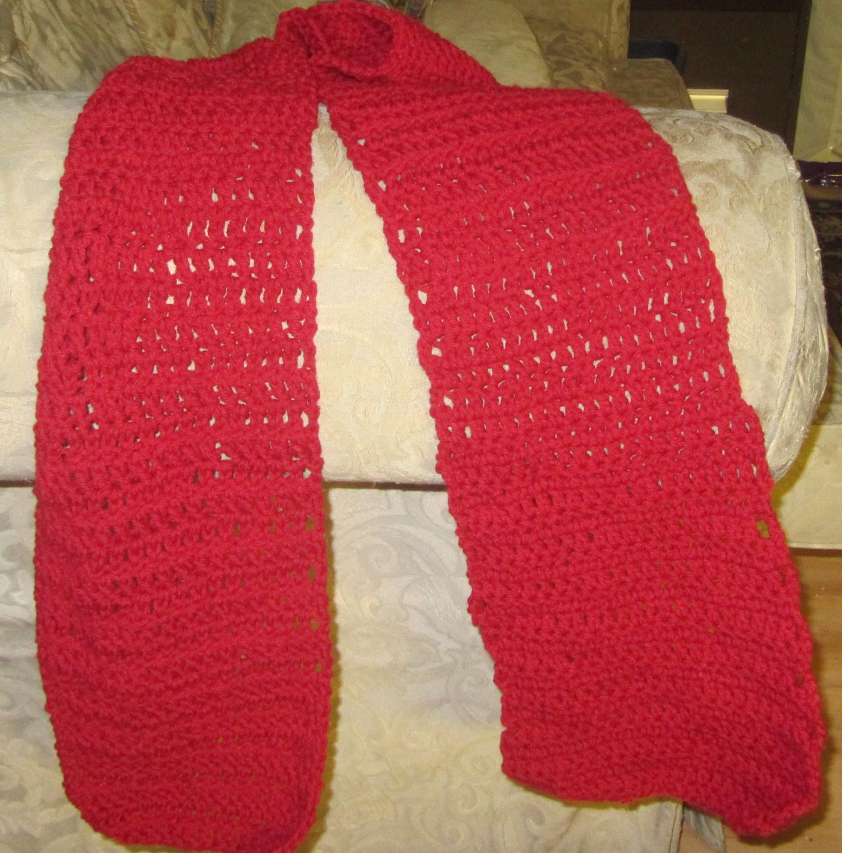 Red Crochet Scarf 6 Feet Long Hand Made Hand Crochet Red Scarf