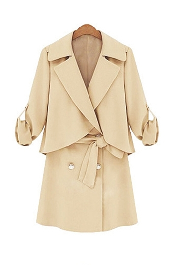 Elegant Style Lapel Belt Coat [FEBK0231] - PersunMall.com