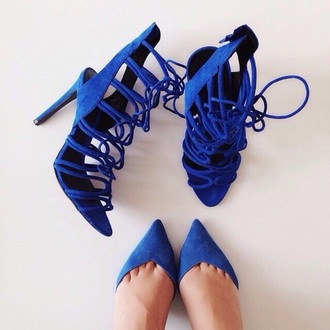 shoes royal blue high-heels shoes blue high heels