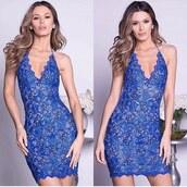 dress,blue dress,royal blue dress,lace dress,sexy dress,party dress,painted dress,bachelorette dress,holt miami,holt