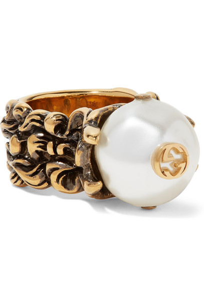 gucci pearl ring gold white jewels