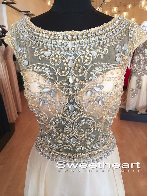 Line round neck rhinestone sequins long prom dresses, evening dresses