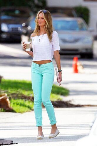 jeans hipster girl coffee barbie fashion neon green lime mint denim pretty blue light blue pants white shirt crop tops blouse