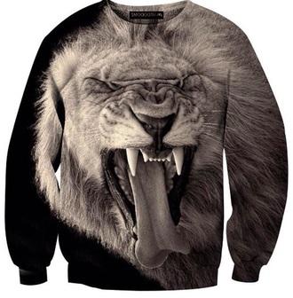 sweater blvck fashion oversized sweater printed sweater black black sweater lion