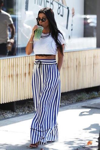 le fashion image blogger pants crop tops top sandals striped pants summer outfits kourtney kardashian streetstyle