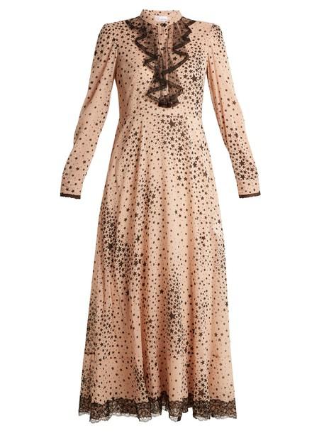 REDValentino dress chiffon dress chiffon print silk nude