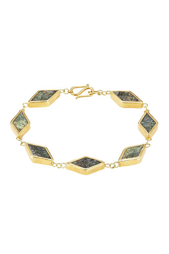 silver bracelet gold silver green jewels