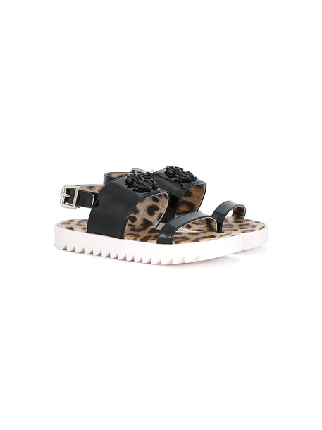 Roberto Cavalli Kids sandals leather black shoes