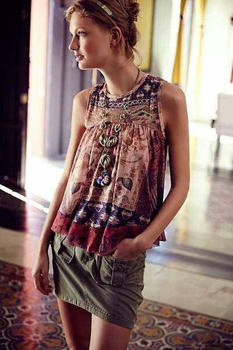 shirt tank top boho colorful patterns cover up