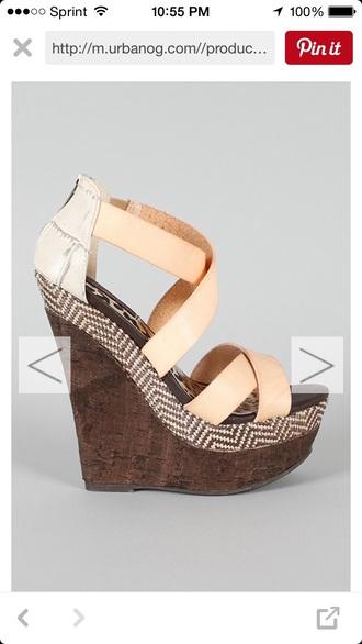 shoes wedges beige cute summer