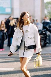 bag,jacket,top,yellow bag,skirt,zip-up skirt