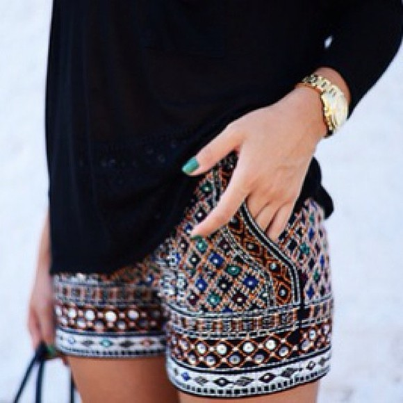 shorts glitter sequin blue sparkles red print zara sequins nail polish handbag t-shirt watch gold watch embellishment sparkle beaded shorts tribal pattern brown girly cute beaded moroccan style shorts. colorful moroccan pattern moroccan moroccan print jewels blouse blue shirt tribal pattern gold sparkly printed shorts