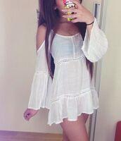 top,clothes,boho,white dress,white boho dress,boho dress,blouse,shirt,dress,kimono,white,summer,summer dress,cover up,white beach cover up,beach dress
