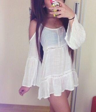 top clothes boho white dress white boho dress boho dress blouse shirt dress kimono white chic coachella summer summer dress cover up white beach cover up beach dress