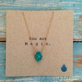 jewels necklace boho hamsa hand blue stone native american magic