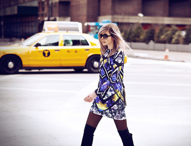 bekleidet blogger patterned dress long sleeve dress dress bag shoes sunglasses