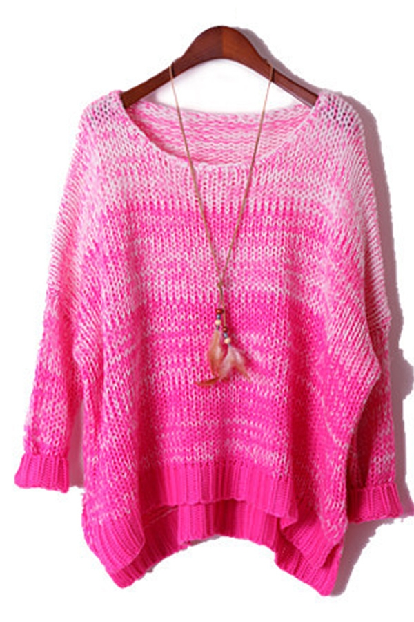 Candy Color Ombre High-low Sweater - OASAP.com
