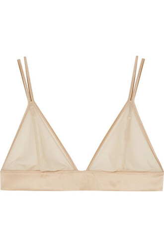 bra triangle soft satin neutral underwear