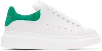 sneakers leather white green shoes