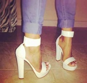 shoes,heels,high heels,thick heel,platform high heels,white,ankle strap heels
