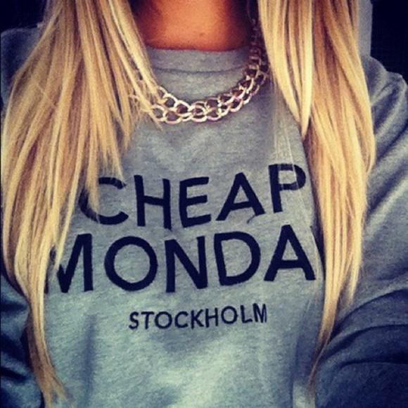 cheap monday gris chaine blond hair clothes sweater grey hate mondays monday grey sweatshirt jewels necklace shirt cheap