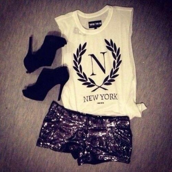 shorts new york city sparkely sparkels glitter glamour short shirt heels black heels high heels tank top shoes mini shorts
