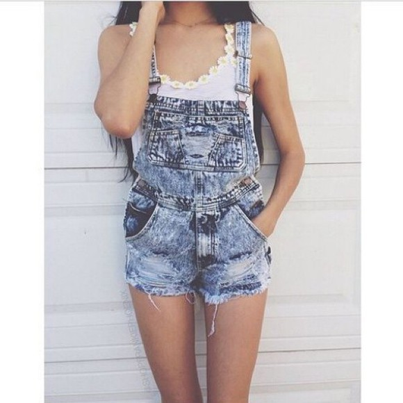 white top daisy denim jumpsuit dungarees bleach wash jeans distressed shorts jeans overalls denim overalls