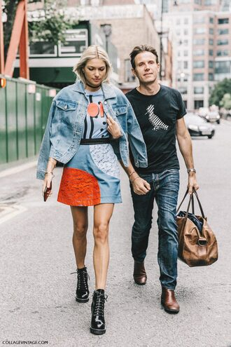 skirt fashion week street style fashion week 2016 fashion week london fashion week 2016 mini skirt blue skirt lace skirt t-shirt graphic tee denim jacket jacket blue jacket boots black boots fall outfits menswear streetstyle