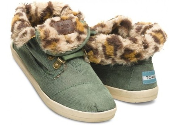 shoes toms toms shoes women leopard print botas fleece