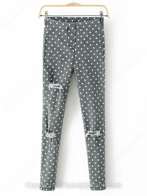 Grey Ripped Polka Dot Tapered/Carrot Button Fly Jean - HandpickLook.com