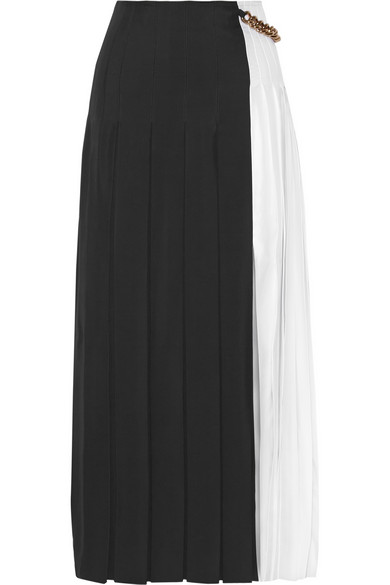Pleated gazar maxi skirt