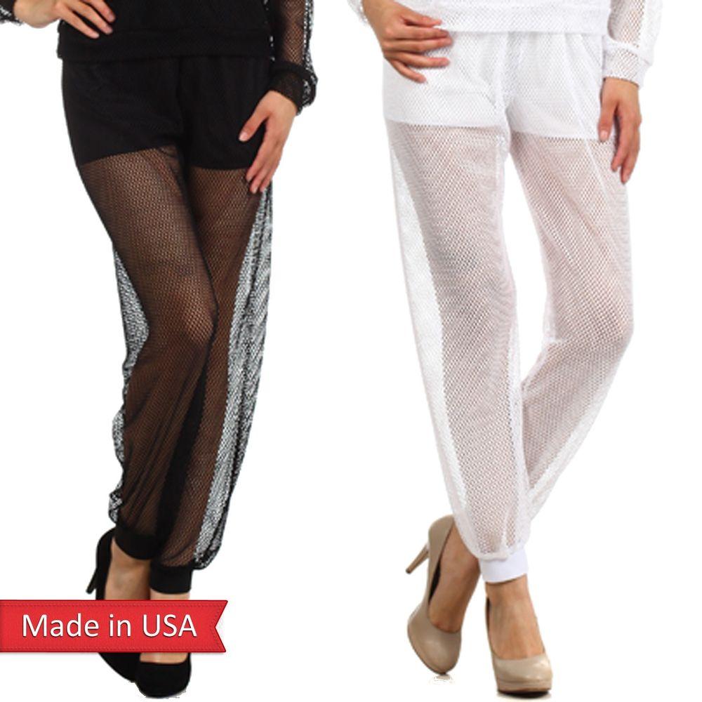 Women black white sexy sheer mesh fishnet cuff pull on jogger pants leggings usa